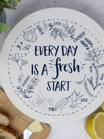 Your Green Kitchen MEDIUM EVERY DAY IS A FRESH START BOWL COVER-UNWAXED