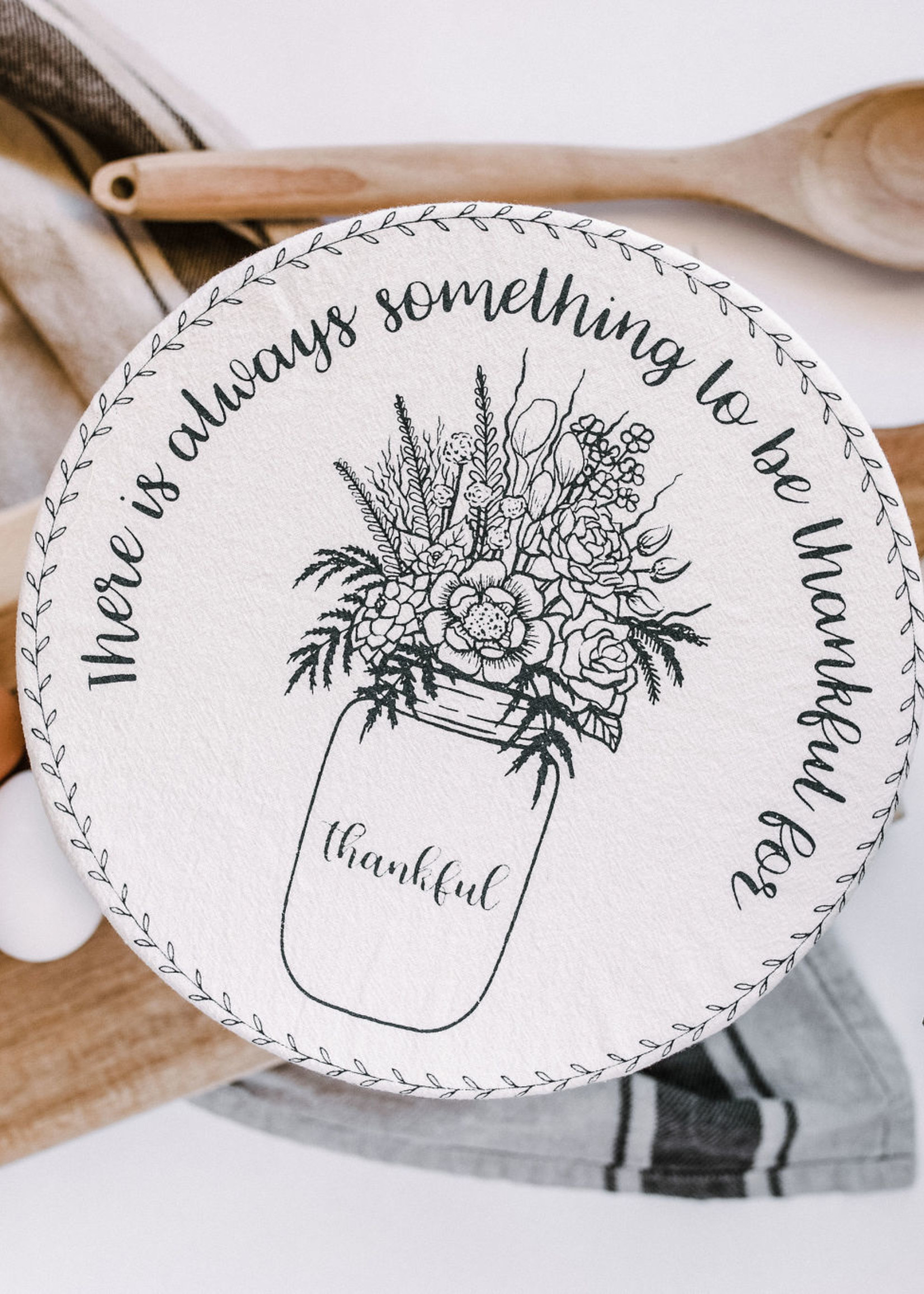 Your Green Kitchen LARGE THANKFUL BOWL COVER-UNWAXED
