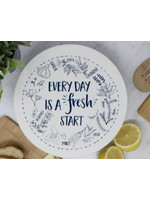 Your Green Kitchen LARGE EVERY DAY IS A FRESH START BOWL COVER-UNWAXED