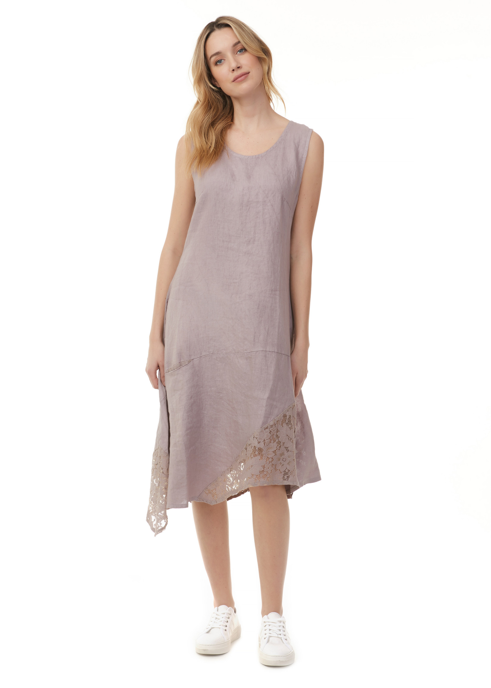 Charlie B ASYMMETRICAL DRESS WITH LACE INSERT