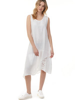 Charlie B ASYMMETRICAL DRESS WITH LACE INSERT C3102 WHITE