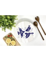 Your Green Kitchen LARGE BIRD TRIO ON STRIPES BOWL COVER-UNWAXED