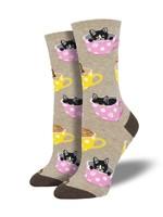 Socksmith Canada Inc WOMEN'S CAT-FEINATED SOCKS WNC1771-HEM