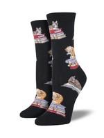 Socksmith Canada Inc WOMEN'S CATS ON BOOKS SOCKS WNC346-BLK