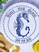 Your Green Kitchen MEDIUM SEAHORSE BOWL COVER-UNWAXED