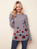 Charlie B FELTED HEARTS SWEATER C2373 GREY