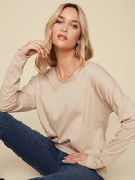 Charlie B SOLID KNIT TOP WITH V NECK C1292PK OATMEAL