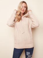 Charlie B CABLE KNIT SWEATER WITH HOOD C2345