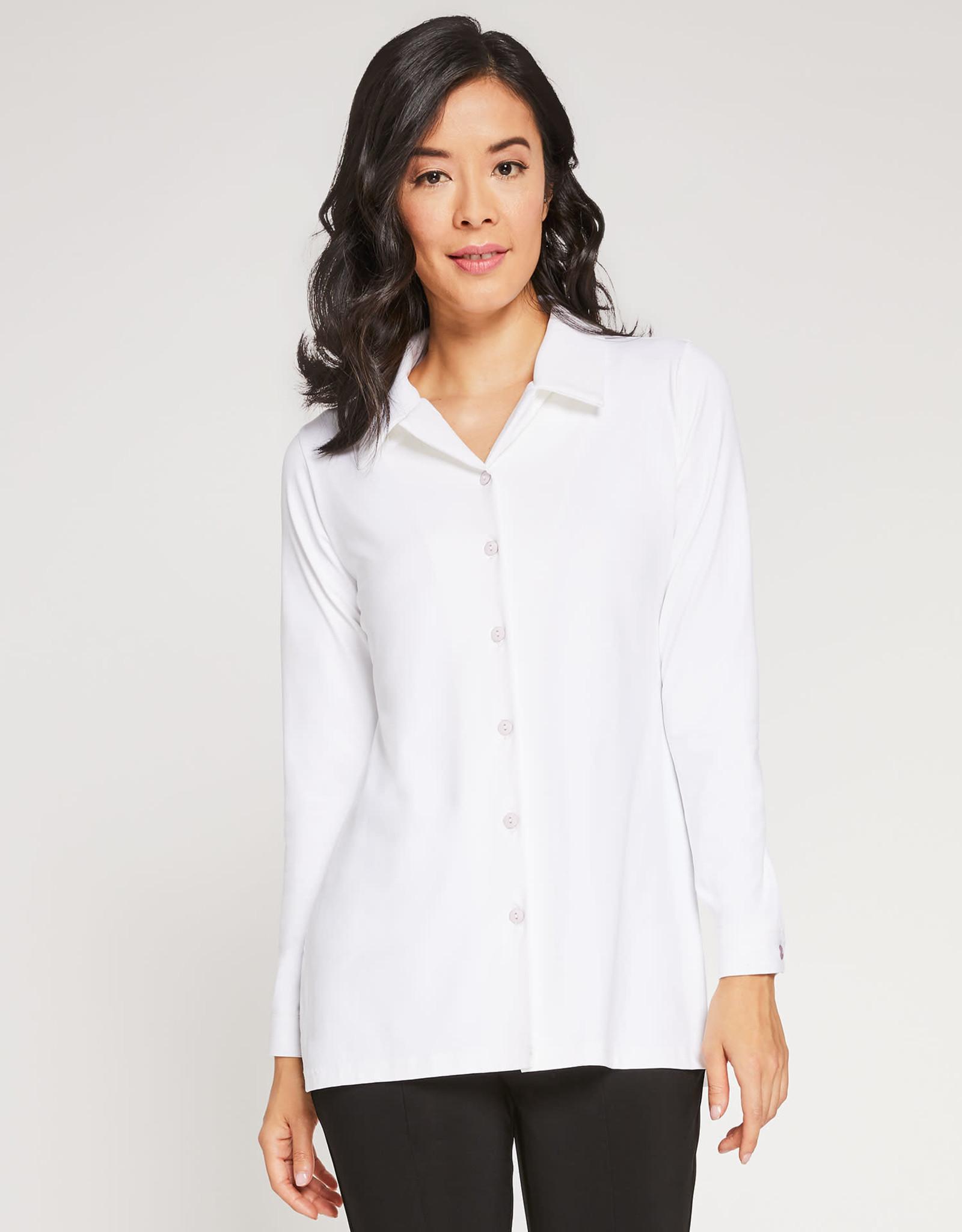Sympli Long Sleeve Button Down Chic Shirt - White