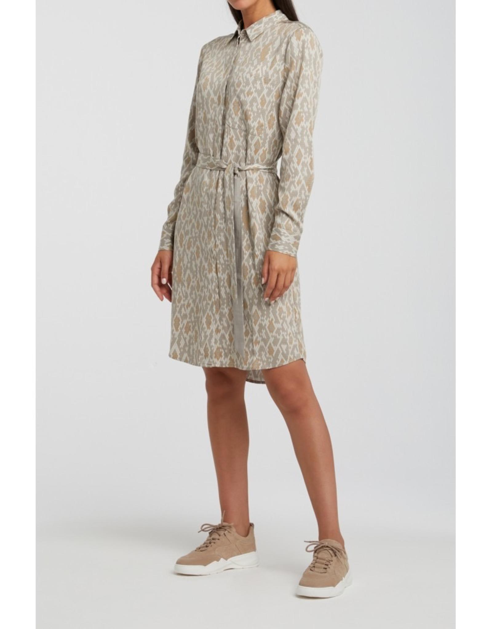 YAYA Blouse Dress w Belt In Light Sand Snake Print