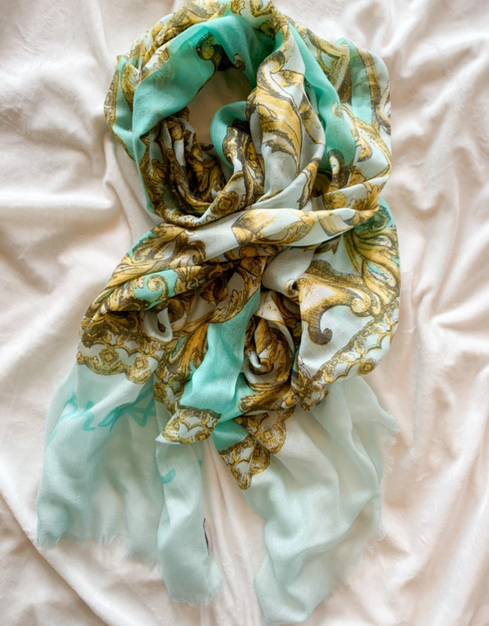 V.Fraas Fleur De Lis Lightweight Wool Scarf In Turquoise