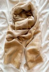 V.Fraas Subtle Sheen Wool Scarf In Peach / Camel