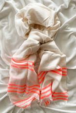 Speckled Scarf w Pink Stripes