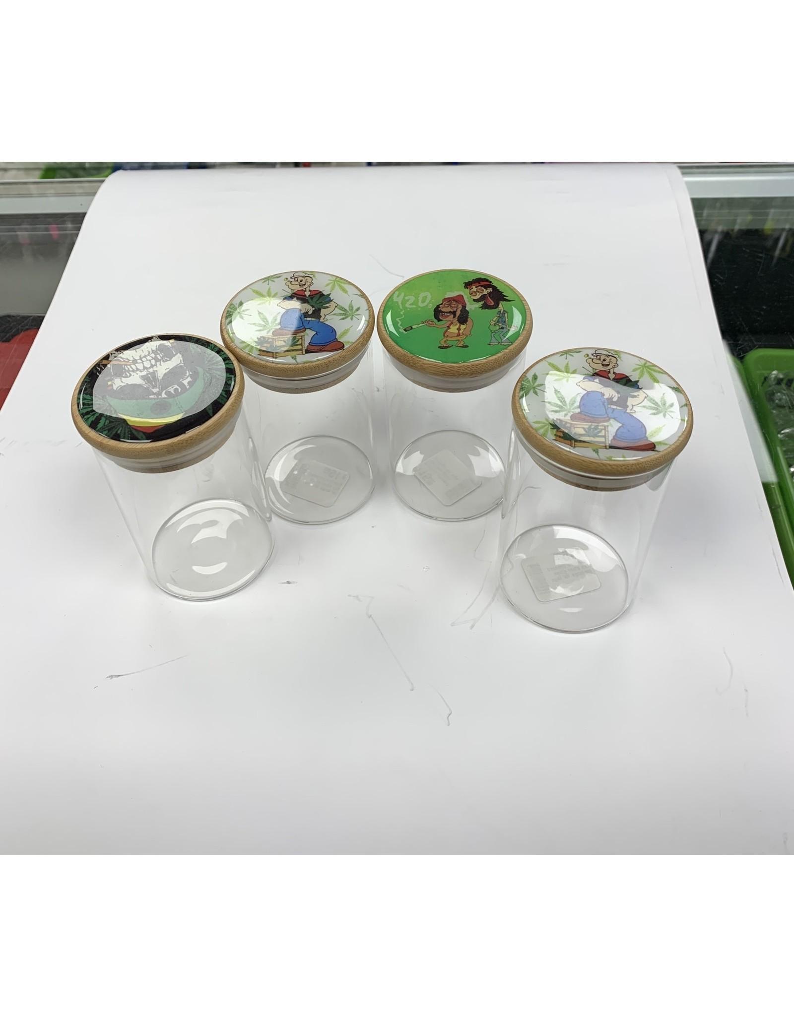 Clear glass jar large press top