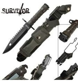Red Deer Outdoors 14 Inch Jungle Survival Knife Black Survival Kit Free Case