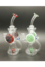 "CRYSTAL GLASS Crystal glass Recycler Water Pipe 8"" rig C6034"