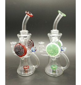 """CRYSTAL GLASS Crystal glass Recycler Water Pipe 8"""" rig C6034"""