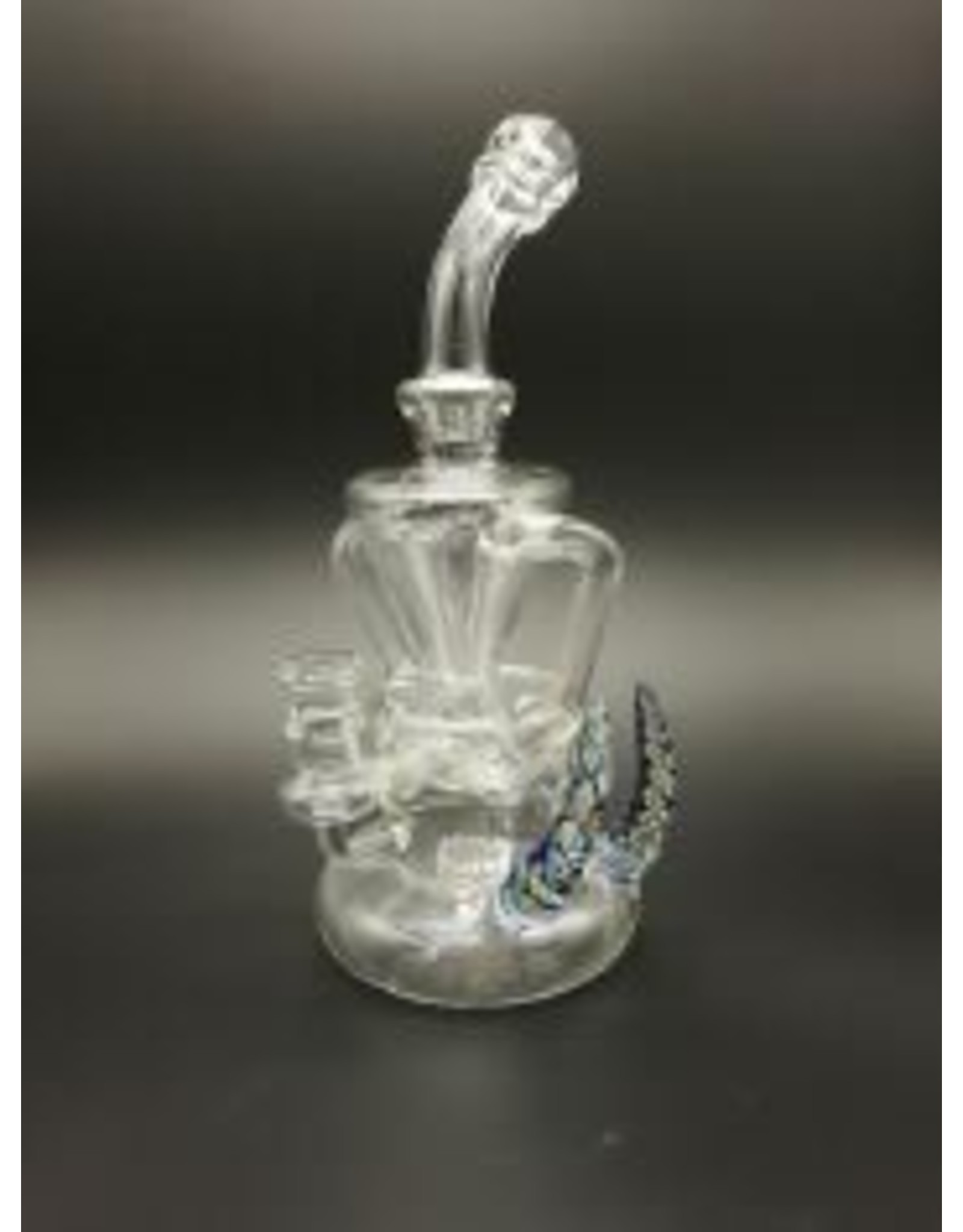 CRYSTAL GLASS DAB RIG  DOUBLE RECYCLER  C6078