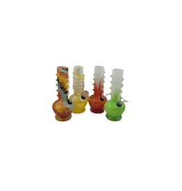 CRYSTAL GLASS ROUND BASE SMALL WATER BONG(MA-0902)