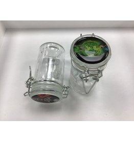 Air sealed clear glass jar small w/ logo