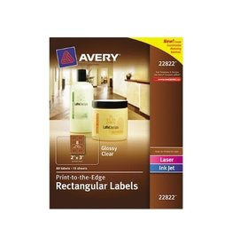 Avery LABELS-BUSINESS/BRANDING, 2X3 GLOSSY CLEAR 80/PACK