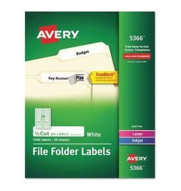 Avery LABELS-FILE FOLDER PERMANENT 3-7/16X2/3 WHITE 600/EV