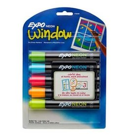 Expo MARKER SET-DRY ERASE, EXPO NEON WINDOW, BULLET 5 COLOURS