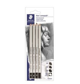 STAEDTLER PENCIL SET-CHARCOAL MARS LUMOGRAPH 2B,4B,6B AND WHITE