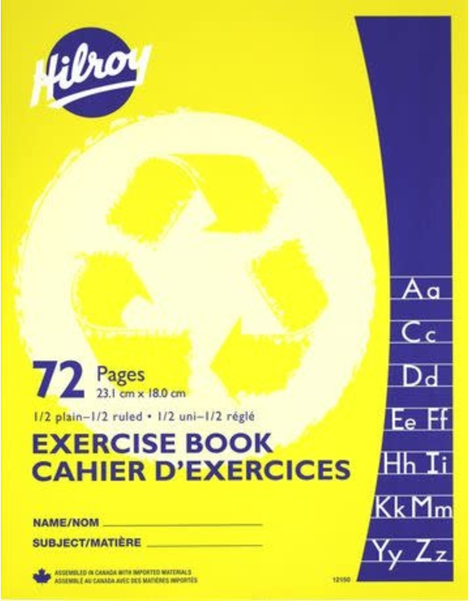 Hilroy EXERCISE BOOK-STITCHED 9-1/8X7-1/8 1/2 RULED, 1/2 PLAIN