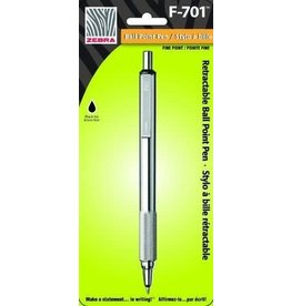 Zebra Pen PEN-RETRACTABLE, F-701 BALLPOINT 0.7MM STAINLESS STEEL/BLK.