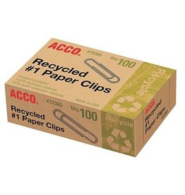 ACCO Brands Paper Clips - #1 Standard Recycled 100/pack