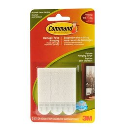 3M PICTURE HANGING STRIPS-COMMAND ADHESIVE, MEDIUM, WHITE 3/PK