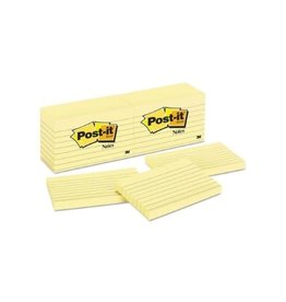 Post-it NOTES-POST-IT, LINED 3X5  YELLOW 100 SHEETS