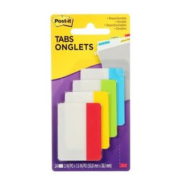 Post-it INDEX TABS-POST IT DURABLE, 2'' ASSORTED