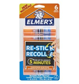 Elmer's GLUE STICK- REPOSITIONABLE, ELMER'S 8G, RE-STICK, 6/PACK