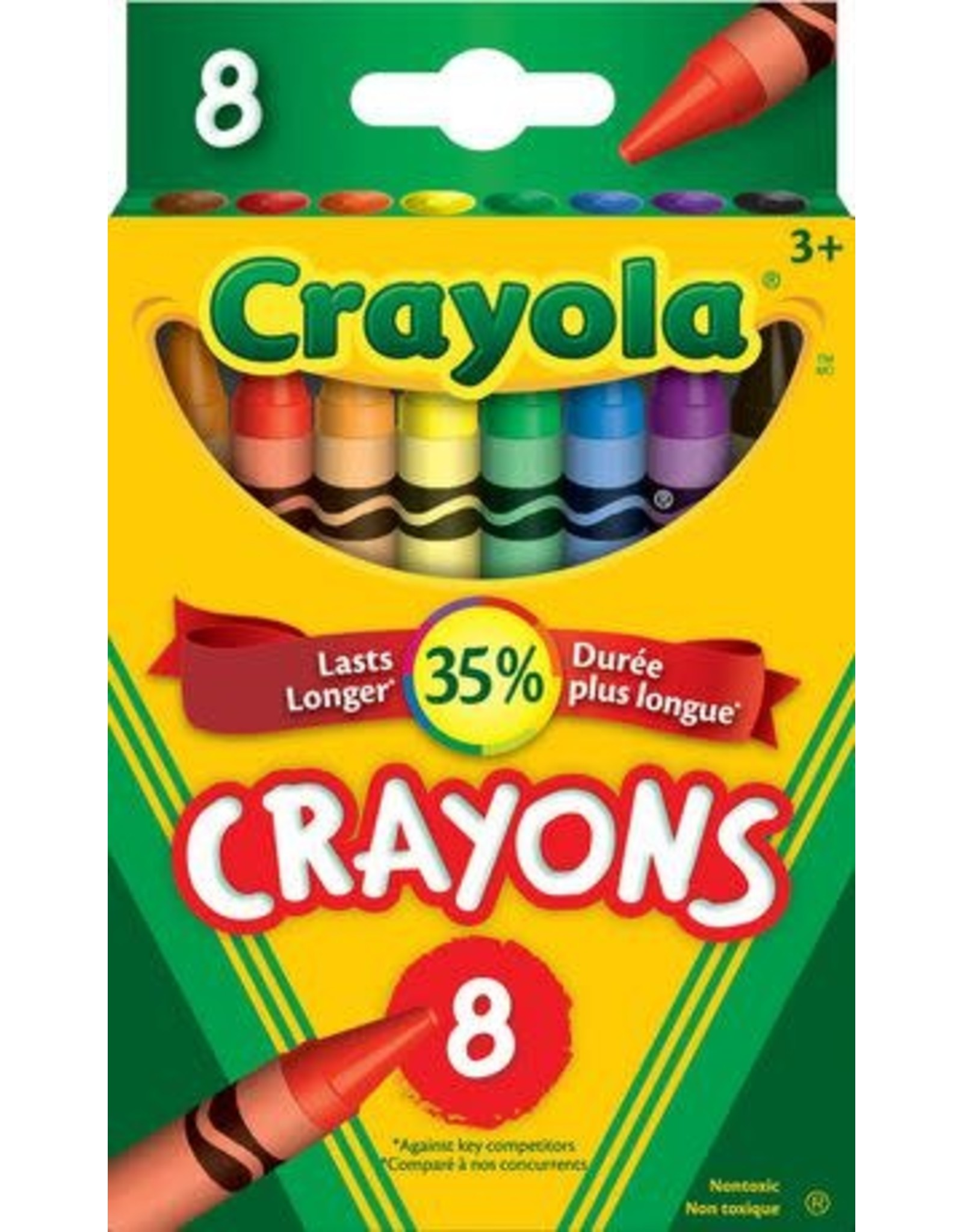 Crayola CRAYONS-CRAYOLA 8 COLOURS, HANG-TAB BOX
