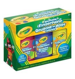 Crayola PAINT-CRAYOLA WASHABLE FINGERPAINT, 3 COLOURS 8 OZ. ASSORTED