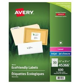 Avery LABELS-FILE FOLDER, ECO FRIENDLY 3-7/16X2/3 600/PACK