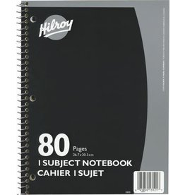 Hilroy NOTEBOOK-COIL, 1-SUBJECT 10.5X8  80 PAGE 3-HOLE, ASSORTED