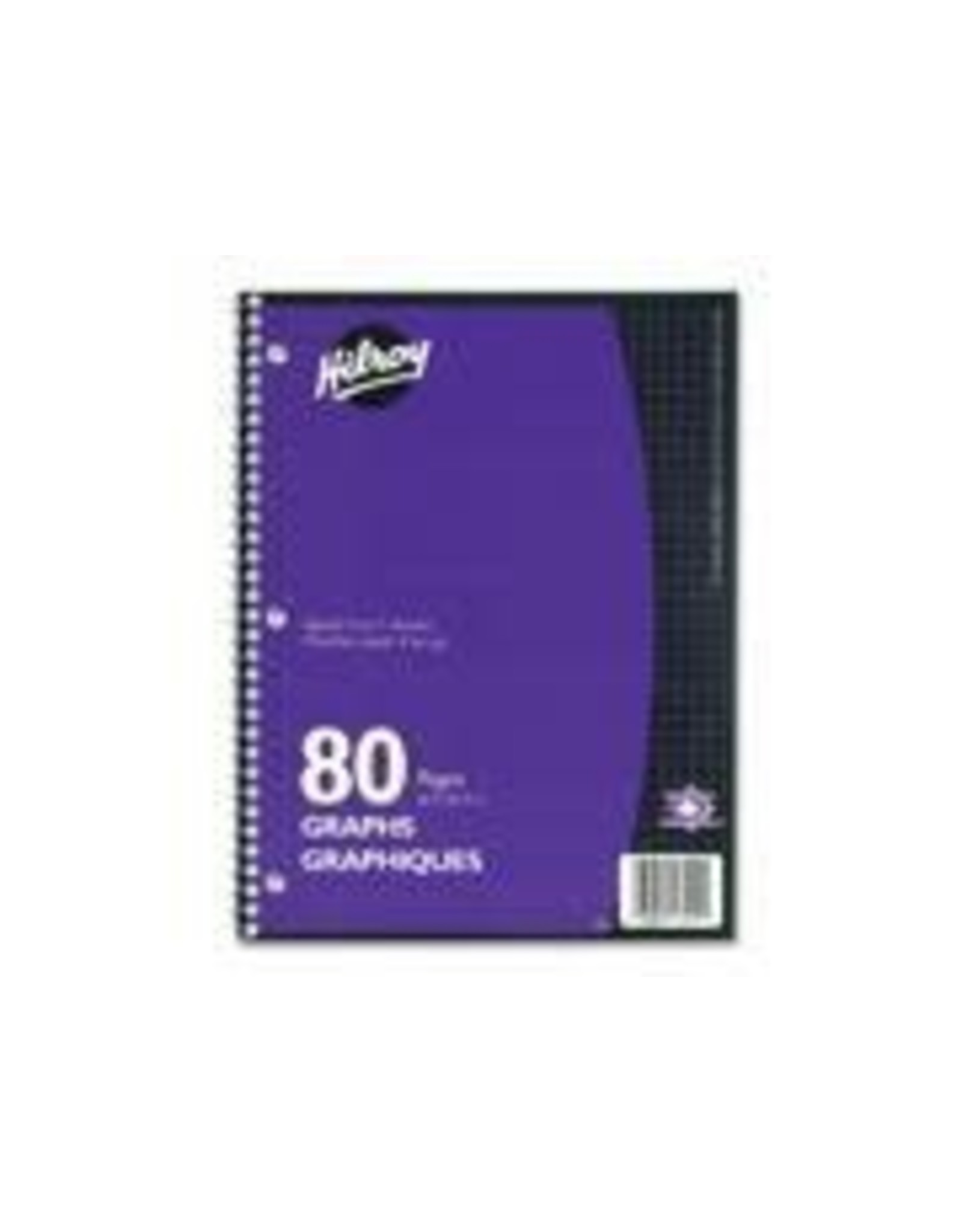 Hilroy NOTEBOOK-COIL, GRAPH 4/INCH 10.5X8 80 PAGE, VIOLET COVER