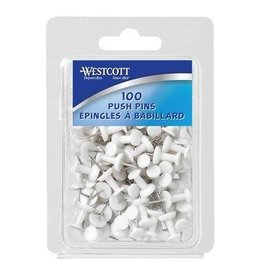 Acme United Push Pins, White 100/pack