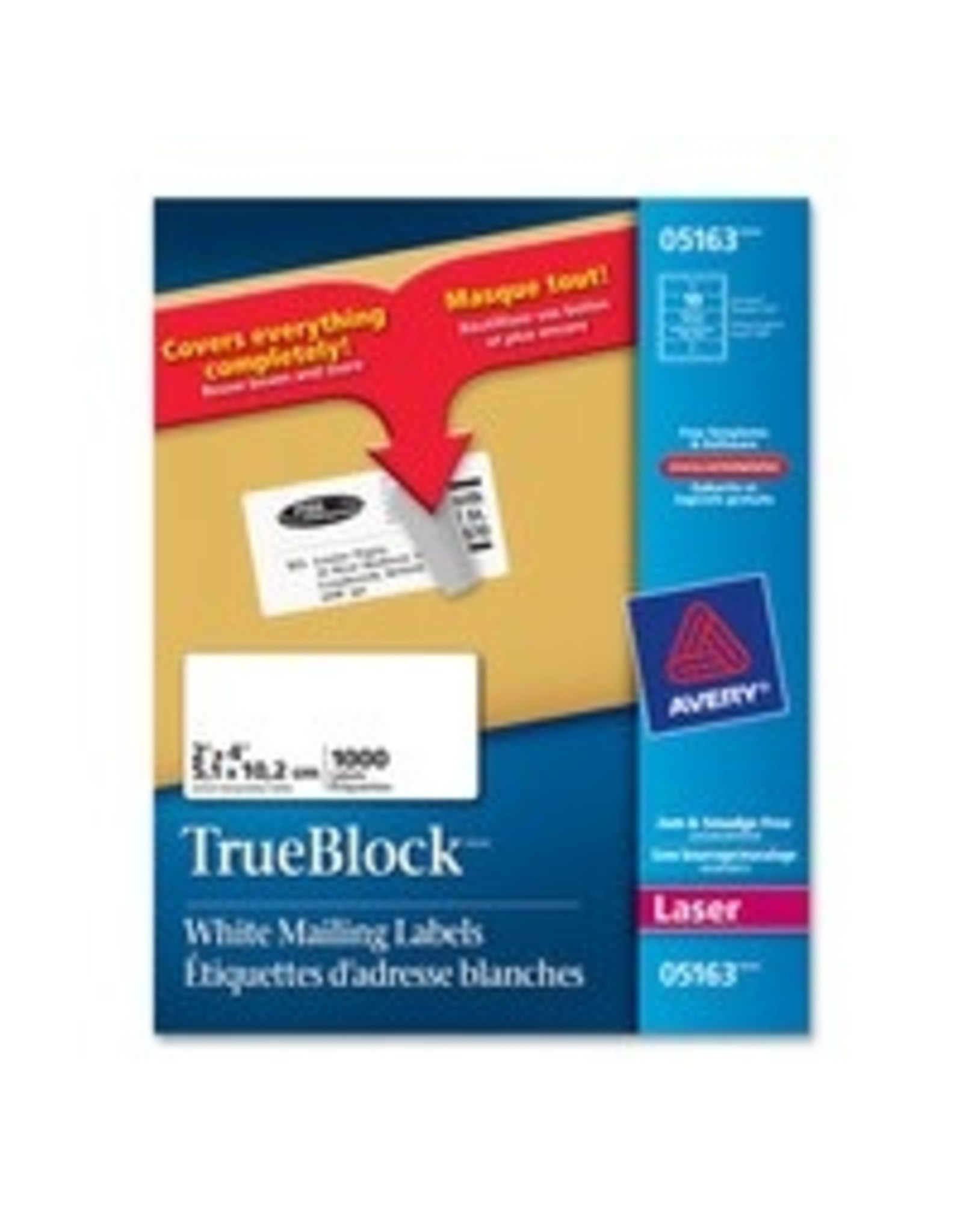 Avery LABELS-SHIPPING TRUEBLOCK WHITE 2X4 1000/BOX