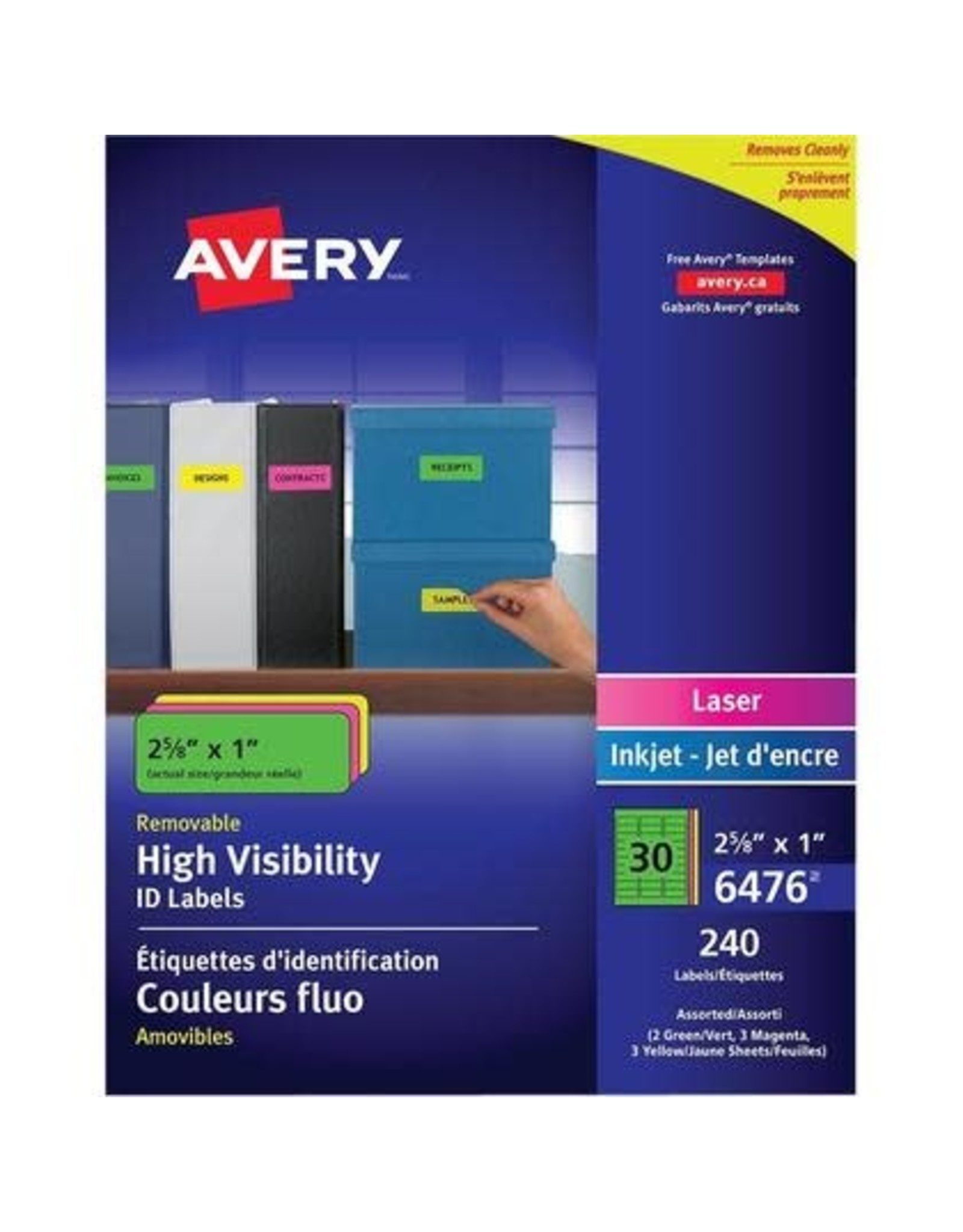 Avery LABELS-HIGH VISIBILITY REMOVABLE 2-5/8X1 NEON ASSORTED 240/P