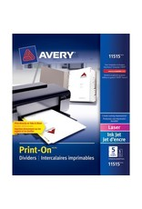 Avery INDEX DIVIDERS-PRINT-ON 5 TAB WHITE, 5 SETS/PACK