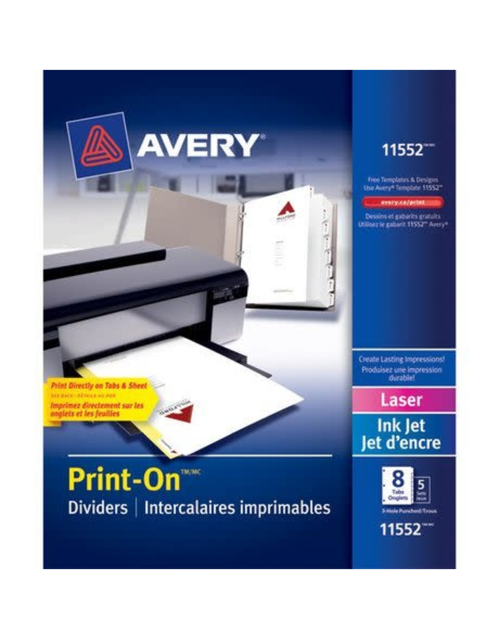 Avery INDEX DIVIDERS-PRINT-ON 8 TAB WHITE, 5 SETS/PACK