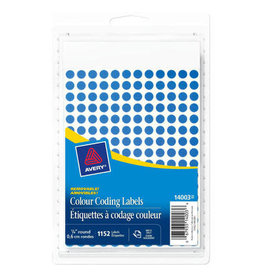 "Avery LABELS-COLOUR CODE, 1/4"" DIAMETER, BLUE 1152/PK"