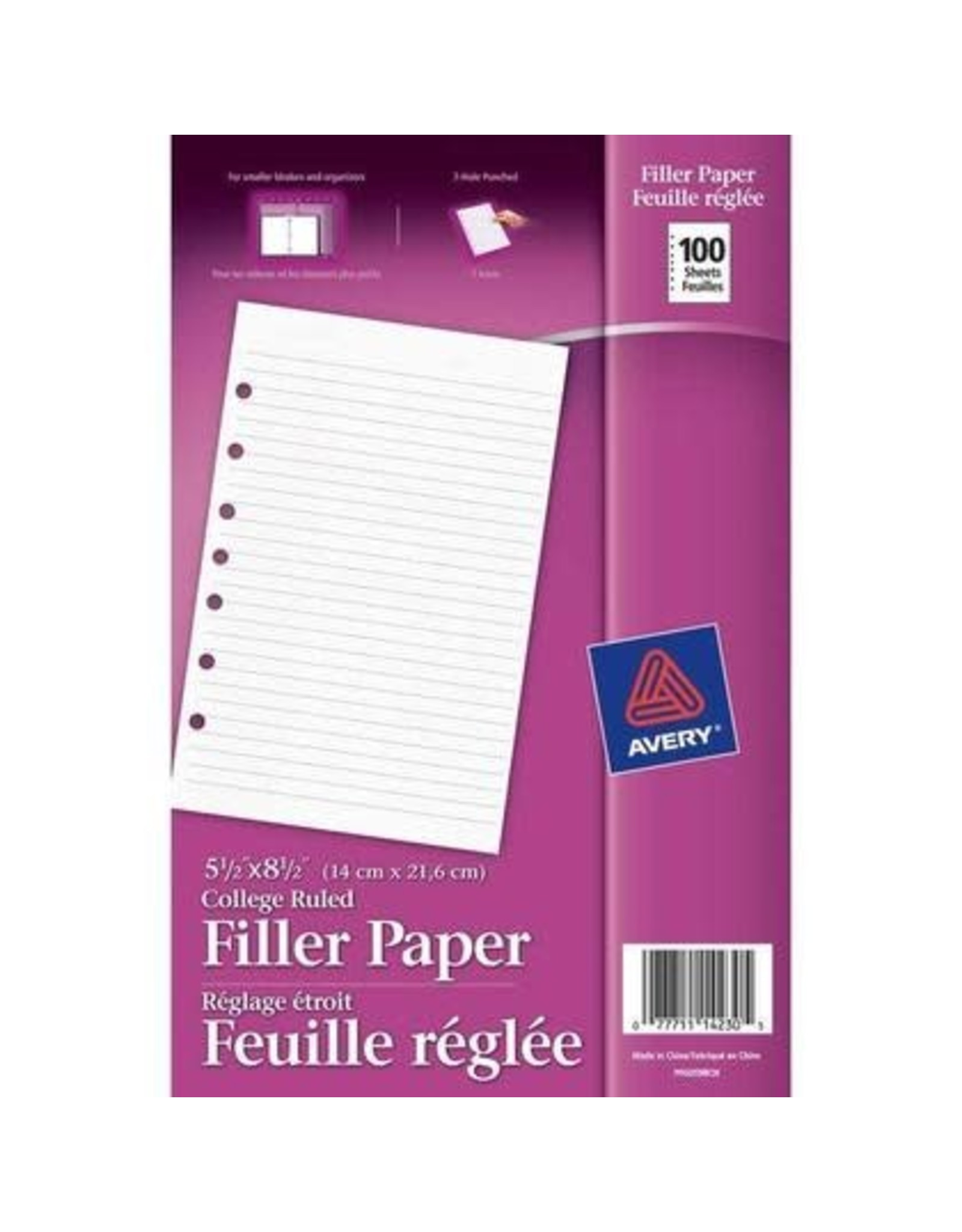 Avery BINDER PAPER- 5-1/2X8-1/2 LINED 7-HOLE 100/PACK