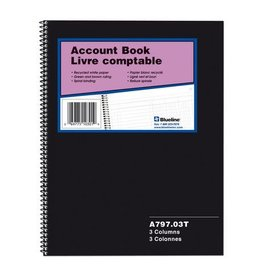 Blueline ACCOUNT BOOK-WIRE, 100 PAGE WHITE 10.25X8  3 COLUMN