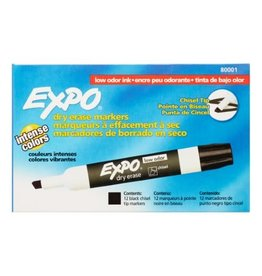 Expo MARKER-DRY ERASE, EXPO LOW ODOUR, CHISEL BLACK 12/BOX