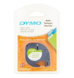 Dymo TAPE-LETRATAG, PAPER 12MM, BLACK ON WHITE